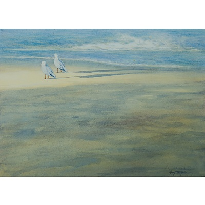 TROUGHTON Guy (b.1960) Two Seagulls on a Beach