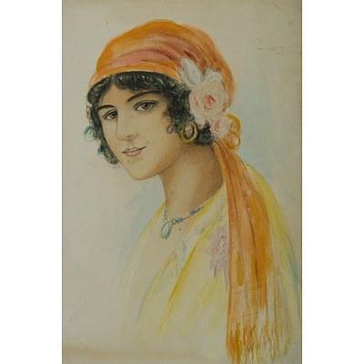 HEMMINGSEN G , Eastern Girl with Headscarf