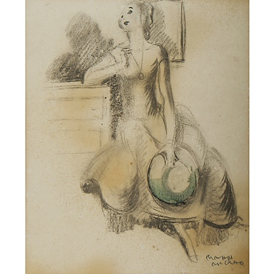 McCRAE Mahdi (1905-1990) Seated Woman with Green Hat