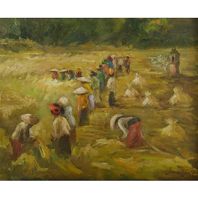 SUMINARTO (Indonesian b.1941) Workers in a Paddy Field