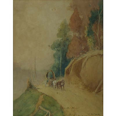 RITCHE W 'Horse & Cart on Hillside' (Possibly Winnie Ritchie NZ)
