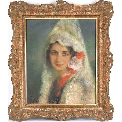 Artist Unknown, Portrait of a Woman, Pastel, Signed Indistinctly and Dated 1932
