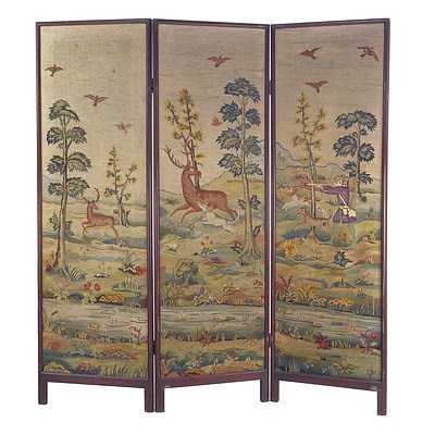 20th Century Screen with Deer Hunt Triptych Tapestry