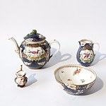 Late Victorian Booths China 'Scale Bird' Pattern Hand Painted and Gilt Four Piece Tea Service