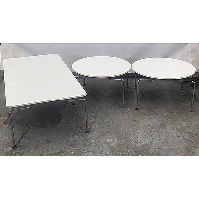 Set of 3 Modern Style White Plastic Tables, Matching Round Pair & Larger Rectangular With Steel Legs