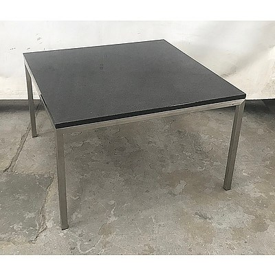 Black Marble Square Table with Steel Legs