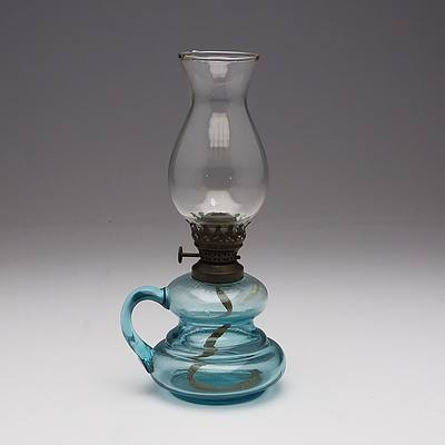 Blue Glass Finger Oil Lamp