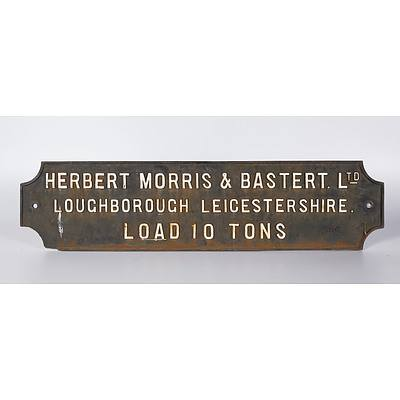 Cast Iron Crane Sign, 'Max Load 10 Tons', Herbert Morris & Bastert Ltd
