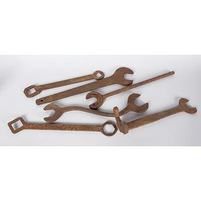 Five Assorted Steel and Cast Iron Large Farm Spanners, Including One Branded HV McKay