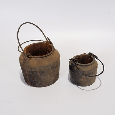 Two Cast Iron Glue Pots with Water Jacket For Use with Animal Glues