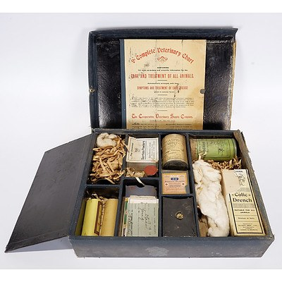 Veterinary Kit in Original Case From 1910, with Manual and Range of Drugs and Equipment and Receipt Dated 17.12.1910