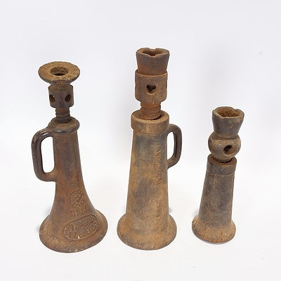 3 Cast Iron Bottle Jacks, 5 Ton - Youngs Birmingham; 3 Ton Vulcan Brand; and 3 Ton Mathieson, Glasgow