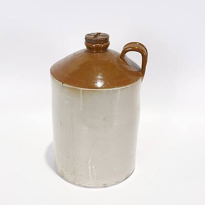 Salt Glazed Stoneware Demijohn, 2.5 Gallons 1963 with Screw Top