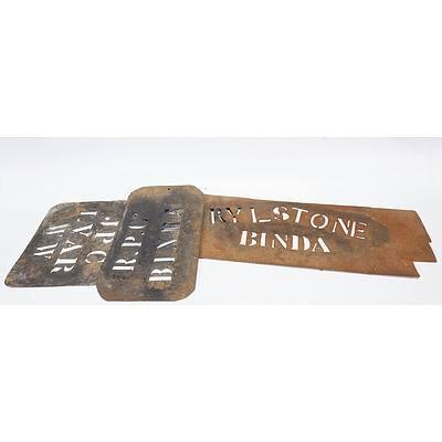 3 Wool Bale Stencils - R P Co Binda; JPC Luar WW; Rylstone Binda