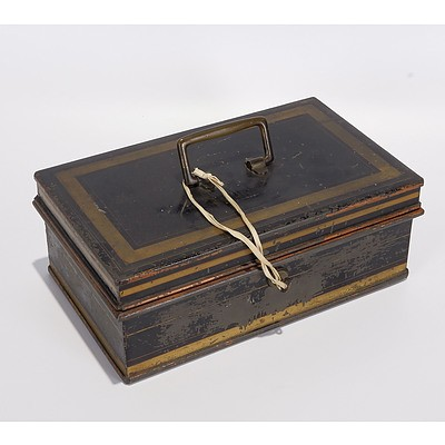 Metal Milners Deed Box with Brass Handle and Original Key