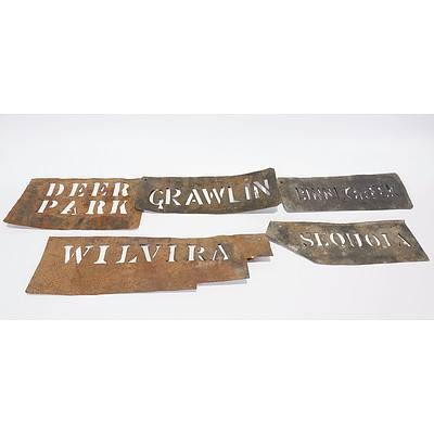 5 Wool Bale Stencil property names - Wilvira; Grawlin; Deer park; Sequoia; Binni Creek