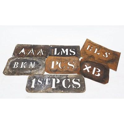 7 Wool Bale Stencils - IST PCS; BKN; PCS; XB (cut out of old Shell kerosene tin); AAA; LMS; BLS