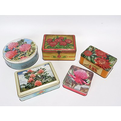 5 X Assorted Waratah Flower Themed Tins, Including Cadbury, Nestle, Brockhoffs and Gartrell White