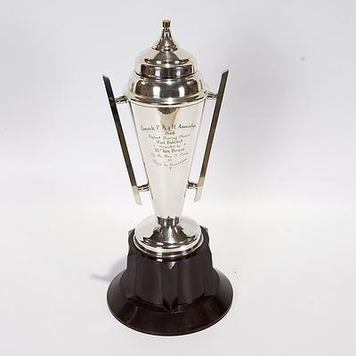 Silver Plated Trophy On Bakelite Base Awarded in 1948 At Cumnock P A and H Assoc For Highest Scoring Fleece Wool Exhibit