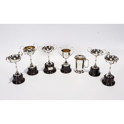 7 X Silver Plated Trophies, Mostly On Bakelite Bases, Awarded Between 1952 and 1965 At Yeoval P A and H Assoc For Winning Wool Exhibits