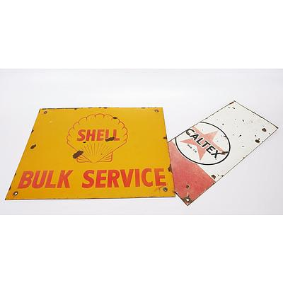 Shell Bulk Service Enamelled Sign and Part of Enamelled Caltex Sign