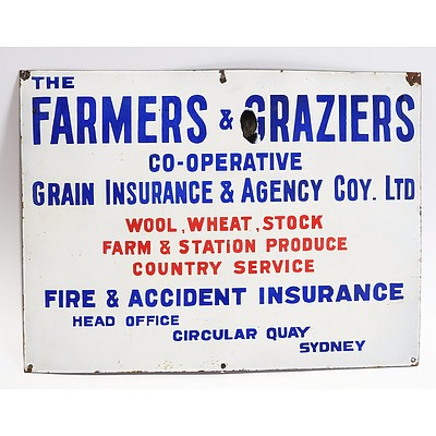 Farmers & Graziers Cooperative Grain insurance & Agency Coy. Ltd Enamelled Sign