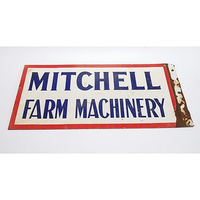 Mitchell Farm Machinery Double-Sided Enamel Sign