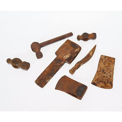 Mortice Axe Head; Miner's Pick Head; 2 X Hand Axe Heads Including Sater Banko, Made in Sweden; 3 X Ball Pein Hammer Heads