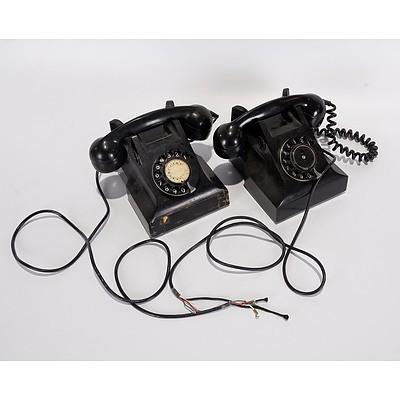 Pair of PMG Black Bakelite Telephones, STC61 S1/401 and AWA62 S1/401