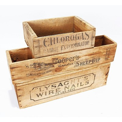 3 Wooden Boxes - Chlorogas Rabbit Exterminator; Lysaghts Wire Nails; and Coopers Gamatox Sheep Dip