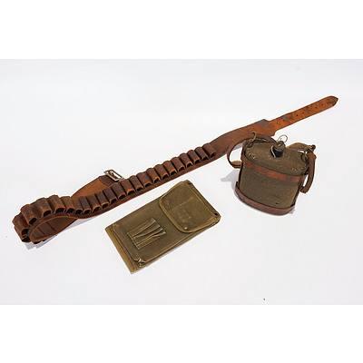 WWI Enamelled Water Bottle, WWII Map Case, and Leather Cartridge Belt