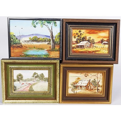 4 X Small Oil Paintings On Board of Cottages in The Bush - Sizes 9 X 14cm; 14 X 19cm; 9 X 14cm; and 9 X 14cm