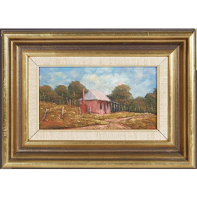 Pioneers Cottage' - Alice Russell, Oil On Board
