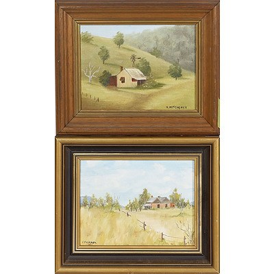 2 X Small Oil Paintings On Board of Houses in The Bush. A Mitchener 14 X 19cm and L Skipper 14 X 19cm