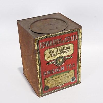 Edwards & Co Ltd Ensign Tea 14Lbs Tin, 1930s