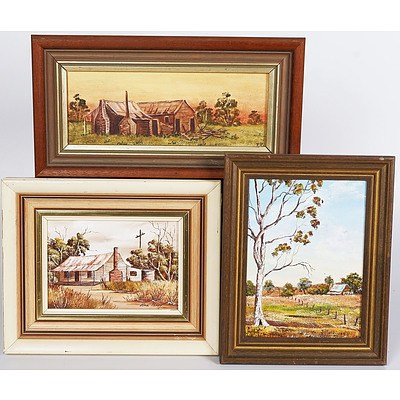 3 X Oil Paintings On Board of Houses in The Bush, 19 X 14cm; 11 X 16cm; and 9 X 24cm