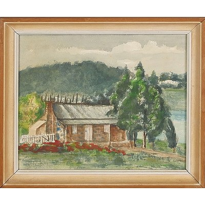 'The Shepherd's House' (Blundells Cottage), Canberra with Parliament House, Watercolour On Board