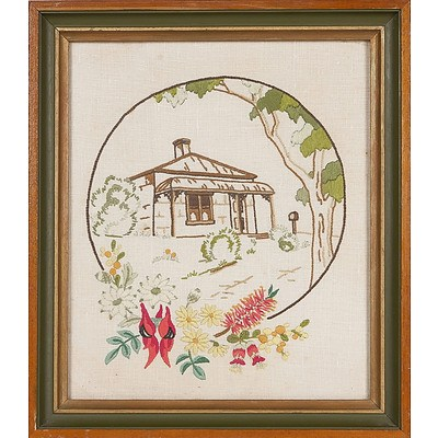 'Cottage with Australian Wildflowers', Embroidery Framed Under Glass