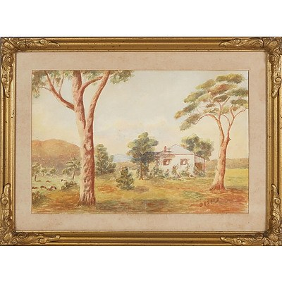 'Country Cottage with Gum Trees and Cattle', Watercolour Framed Under Glass