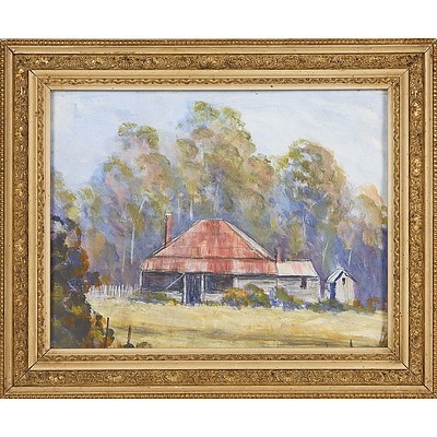'Homestead in The Bush', Watercolour Framed Under Glass in Period Frame