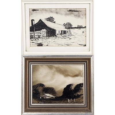 2 X 'Homestead in The Bush' - Jim Crofts (1922-), Pen and Ink and Acrylic