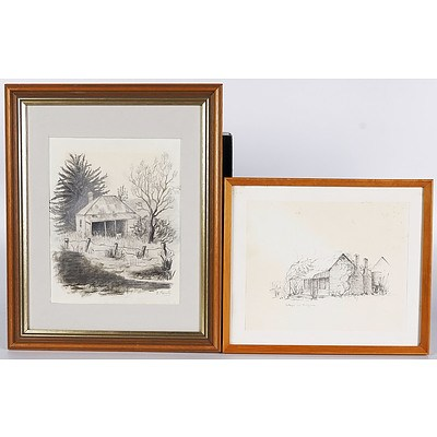 'Cottage At Hillgrove' - F Cooper 1977, Pencil On Paper and 'Randalls Bay Cottage - S Farrelly, Pencil/Charcoal. Both Framed Under Glass