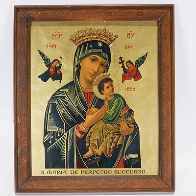 Framed Print of Virgin Mary in Pressed Wood Frame Behind Glass