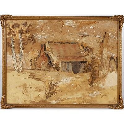 'Old Cottage', Bark Picture Framed Under Glass