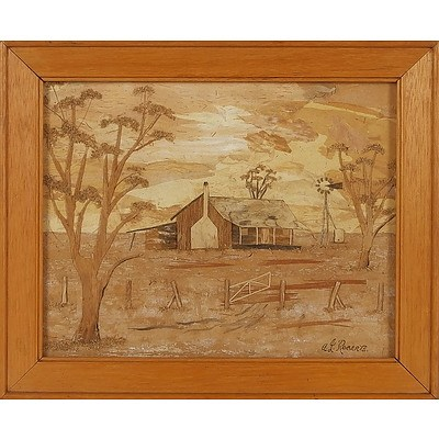 'The Homestead' - A J Roberts, Bark Picture Framed Under Glass