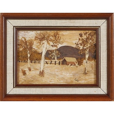 'Farm Shed with Gum Trees', Bark Picture Framed Under Glass