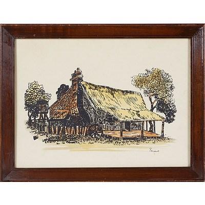 'Blundells Cottage, Canberra' - Mary Bryant 1946, Coloured Pen and ink Framed Under Glass