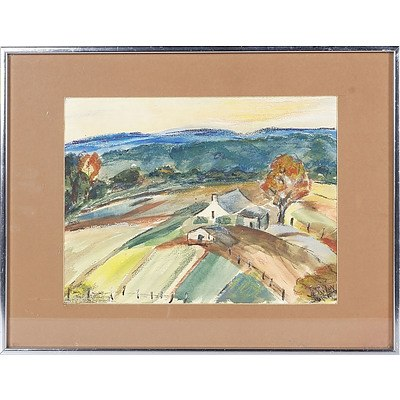 'Hawkesbury River Flats' - Jo Riley, Pastel/Watercolour On Paper, Framed Under Glass