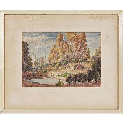 'Homestead in The Bush' - Stewart, Watercolour Framed Under Glass