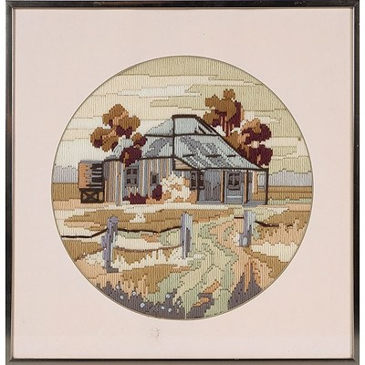 'Homestead', Wool Embroidery, Circular, Framed Under Glass